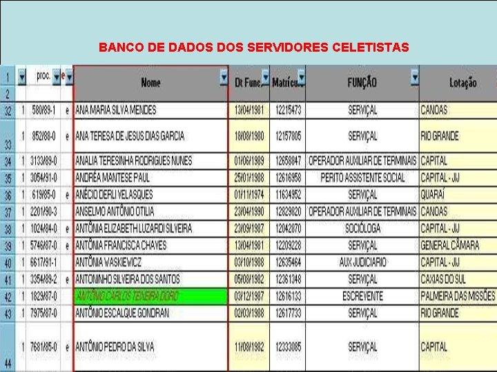 BANCO DE DADOS SERVIDORES CELETISTAS Banco de férias clt escanear