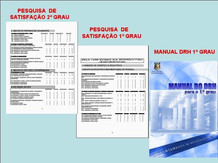 PESQUISA DE SATISFAÇÃO 2º GRAU PESQUISA DE SATISFAÇÃO 1º GRAU MANUAL DRH 1º GRAU
