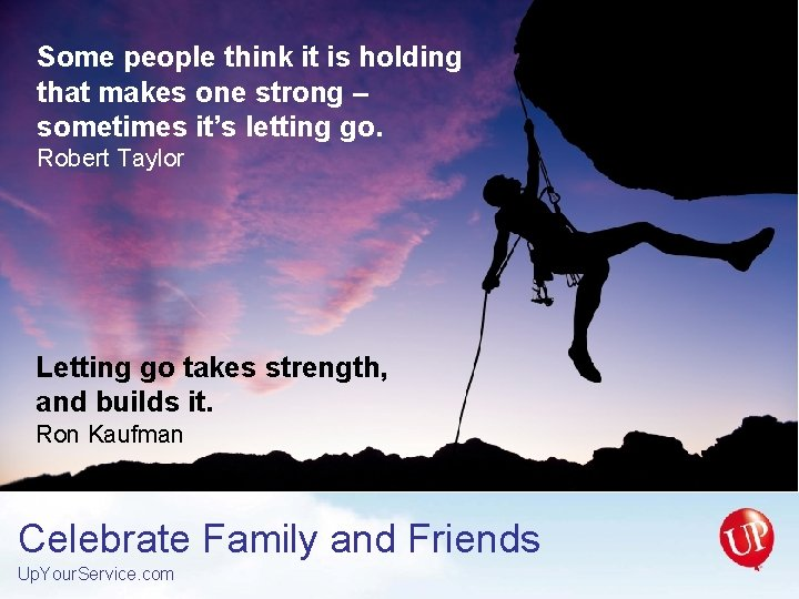 Some people think it is holding that makes one strong – sometimes it's letting