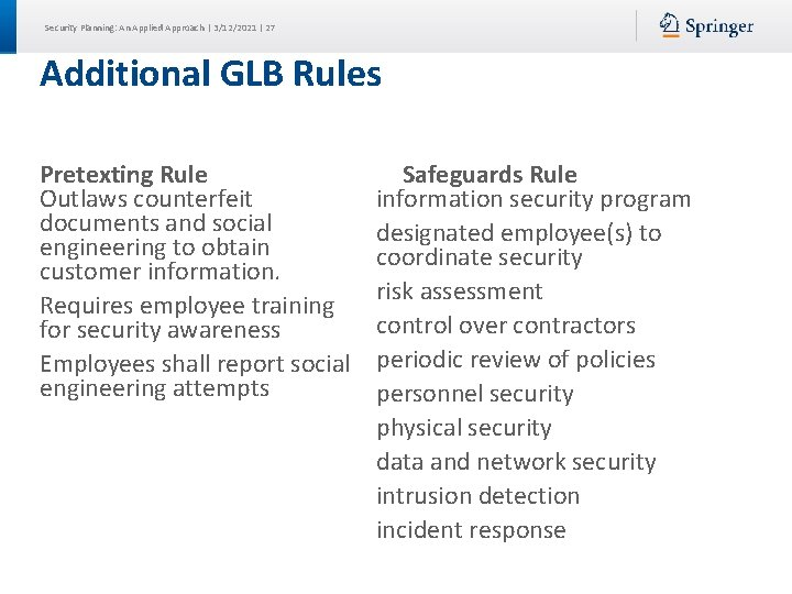 Security Planning: An Applied Approach | 3/12/2021 | 27 Additional GLB Rules Pretexting Rule