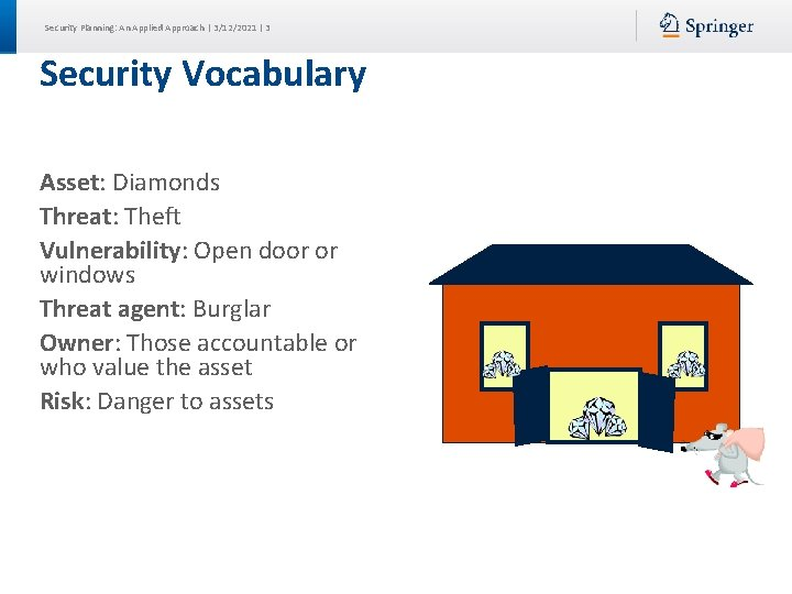 Security Planning: An Applied Approach | 3/12/2021 | 3 Security Vocabulary Asset: Diamonds Threat: