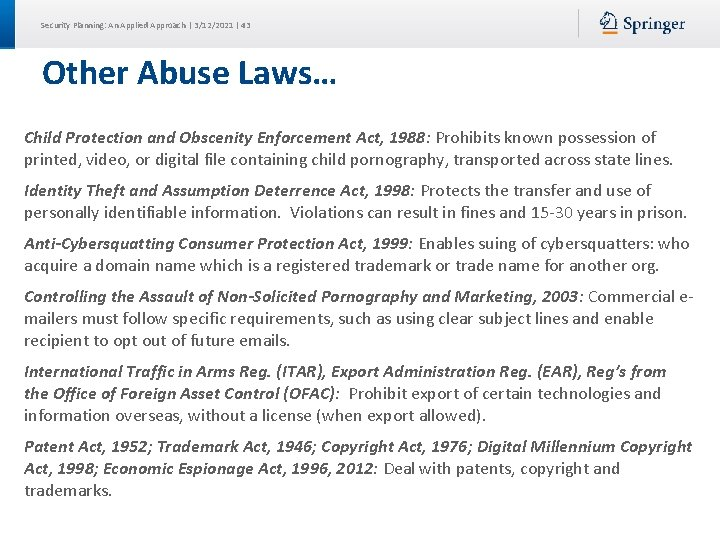 Security Planning: An Applied Approach | 3/12/2021 | 43 Other Abuse Laws… Child Protection