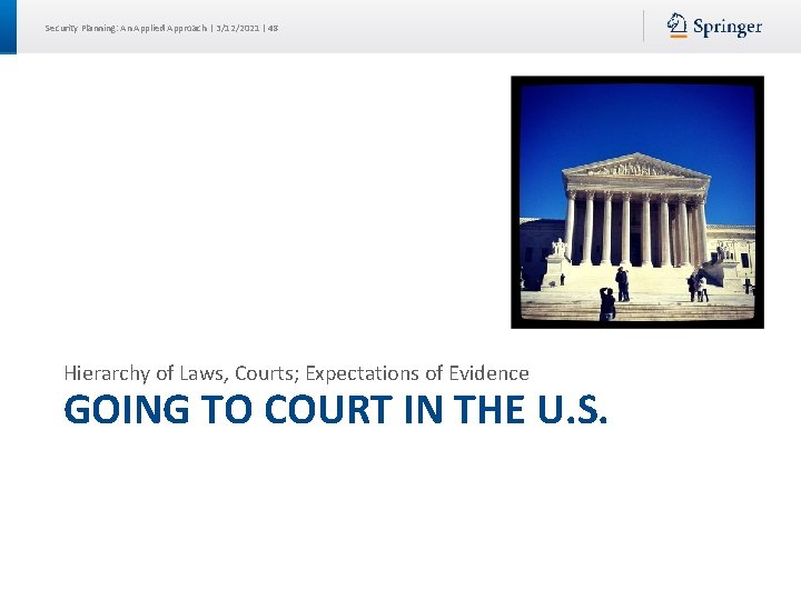 Security Planning: An Applied Approach | 3/12/2021 | 48 Hierarchy of Laws, Courts; Expectations