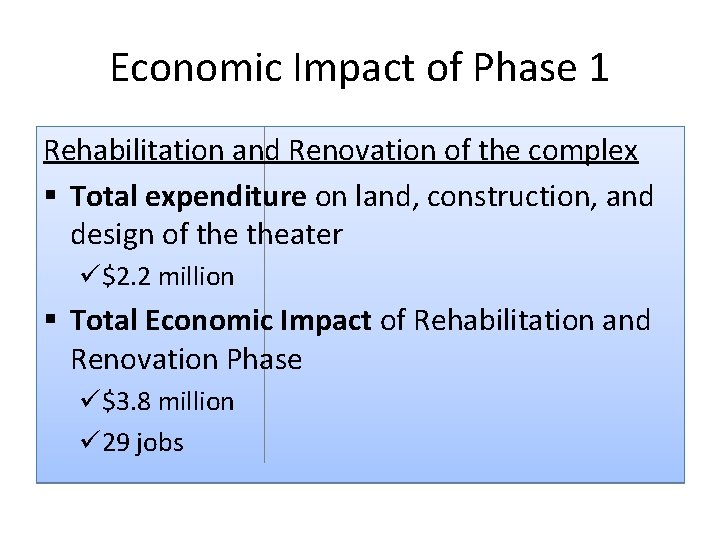 Economic Impact of Phase 1 Rehabilitation and Renovation of the complex § Total expenditure