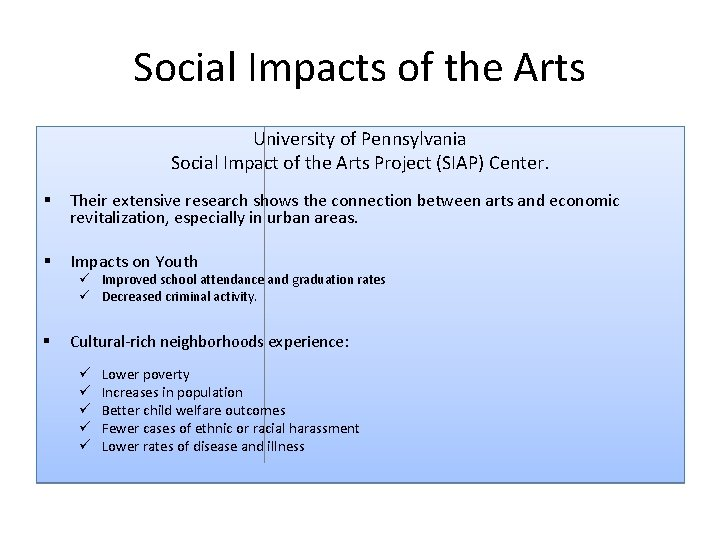Social Impacts of the Arts University of Pennsylvania Social Impact of the Arts Project