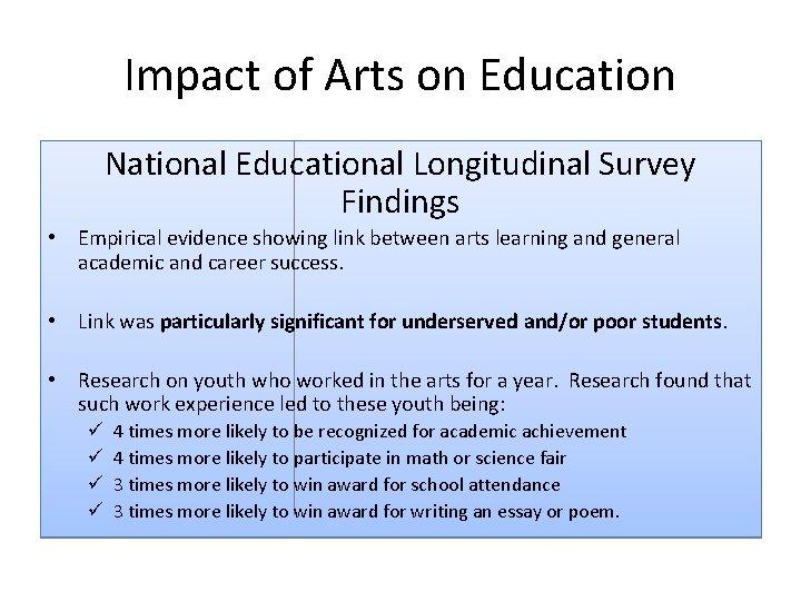Impact of Arts on Education National Educational Longitudinal Survey Findings • Empirical evidence showing