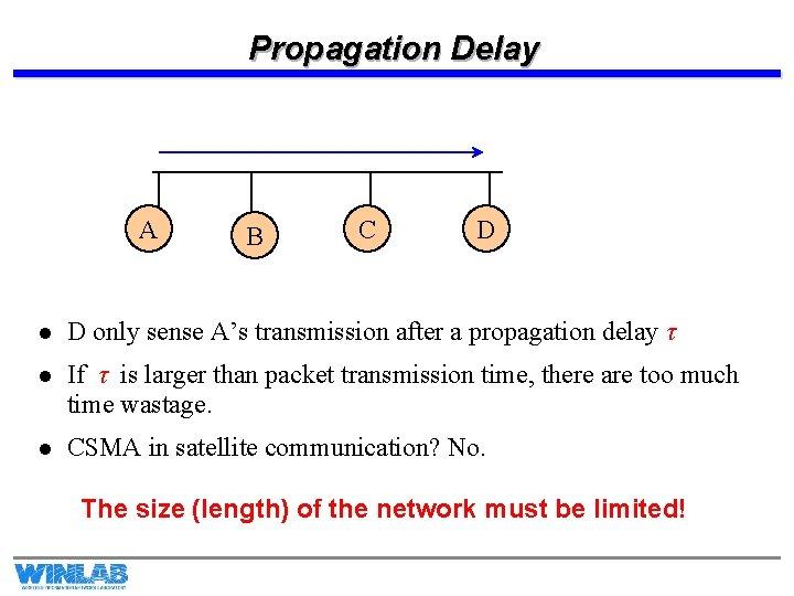 Propagation Delay A B C D l D only sense A's transmission after a
