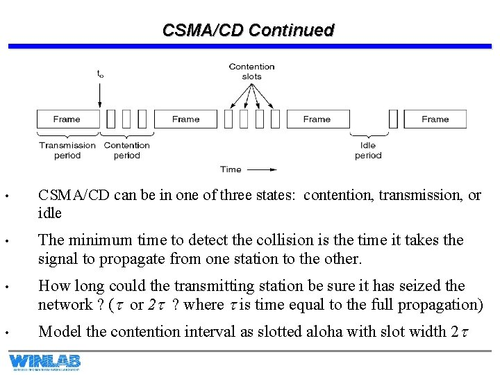 CSMA/CD Continued • CSMA/CD can be in one of three states: contention, transmission, or