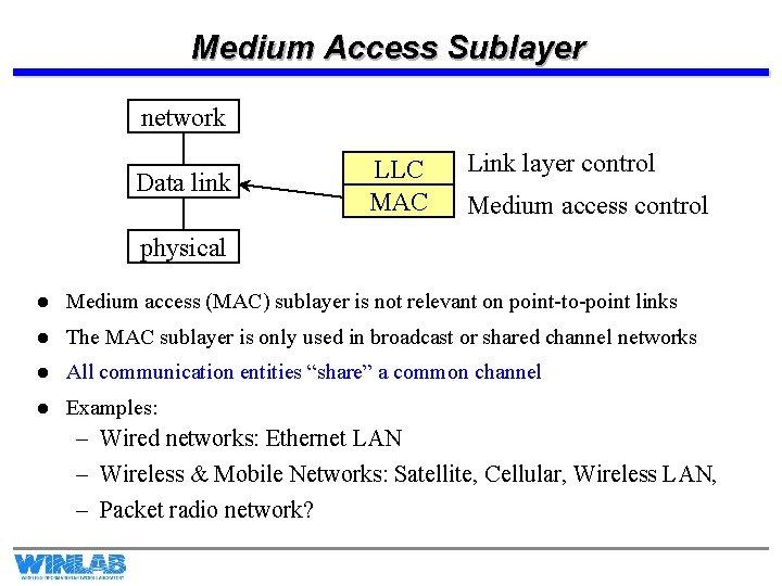 Medium Access Sublayer network Data link LLC MAC Link layer control Medium access control