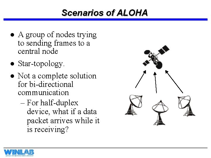 Scenarios of ALOHA l A group of nodes trying to sending frames to a