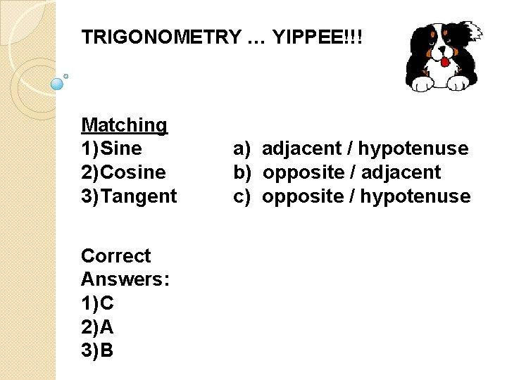 TRIGONOMETRY … YIPPEE!!! Matching 1) Sine 2) Cosine 3) Tangent Correct Answers: 1) C