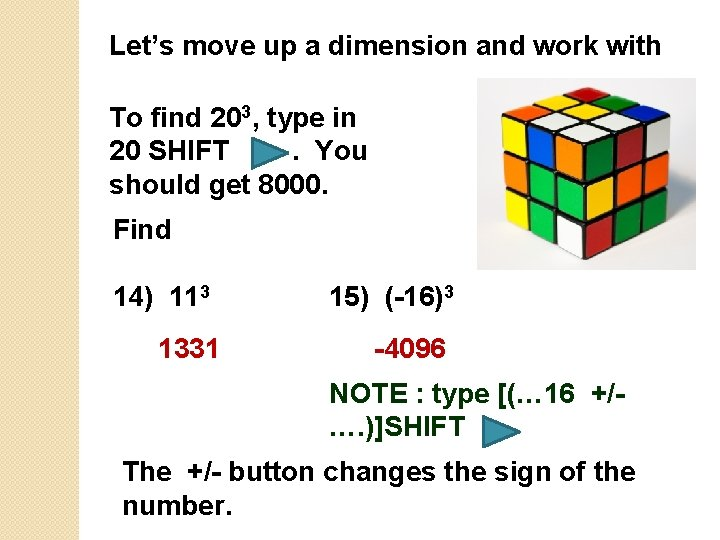 Let's move up a dimension and work with To find 203, type in 20