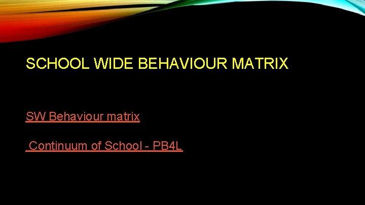 SCHOOL WIDE BEHAVIOUR MATRIX SW Behaviour matrix Continuum of School - PB 4 L