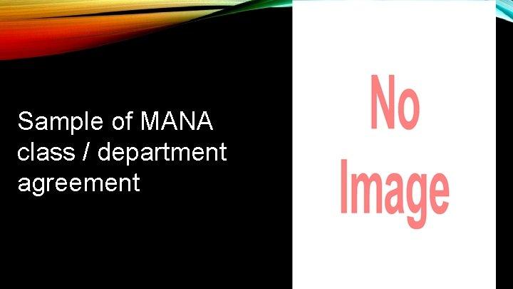 Sample of MANA class / department agreement