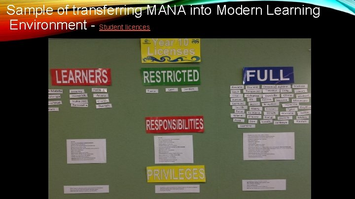 Sample of transferring MANA into Modern Learning Environment - Student licences