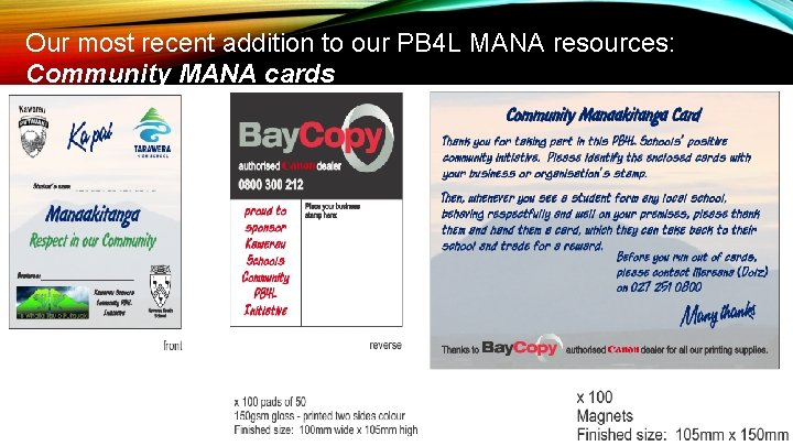 Our most recent addition to our PB 4 L MANA resources: Community MANA cards