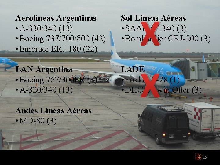 X X Aerolíneas Argentinas • A-330/340 (13) • Boeing 737/700/800 (42) • Embraer ERJ-180
