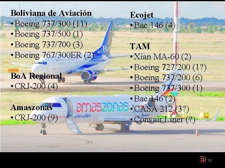 Boliviana de Aviación • Boeing 737/300 (11) • Boeing 737/500 (1) • Boeing 737/700