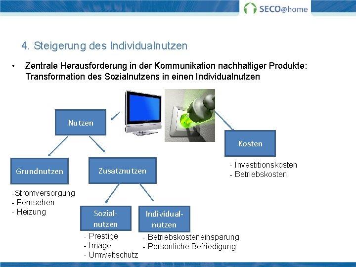 4. Steigerung des Individualnutzen • Zentrale Herausforderung in der Kommunikation nachhaltiger Produkte: Transformation des