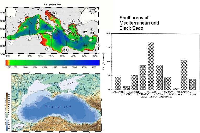 Shelf areas of Mediterranean and Black Seas