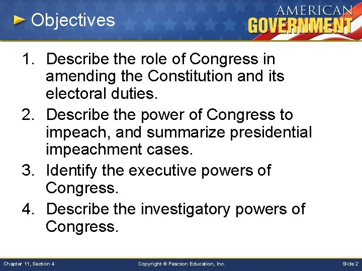 Objectives 1. Describe the role of Congress in amending the Constitution and its electoral