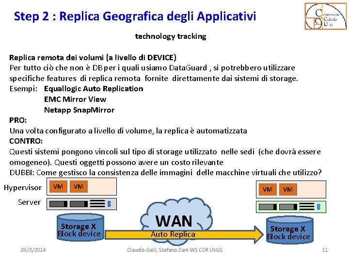Step 2 : Replica Geografica degli Applicativi technology tracking Replica remota dei volumi (a