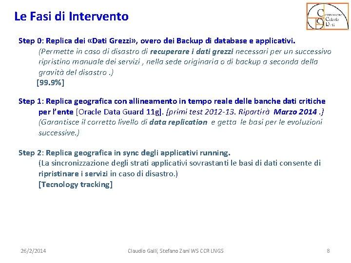Le Fasi di Intervento Step 0: Replica dei «Dati Grezzi» , overo dei Backup