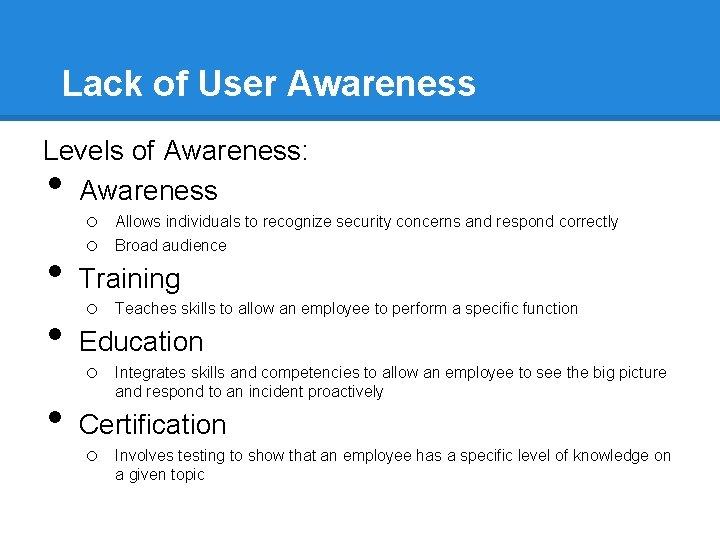 Lack of User Awareness Levels of Awareness: Awareness • • o o Allows individuals