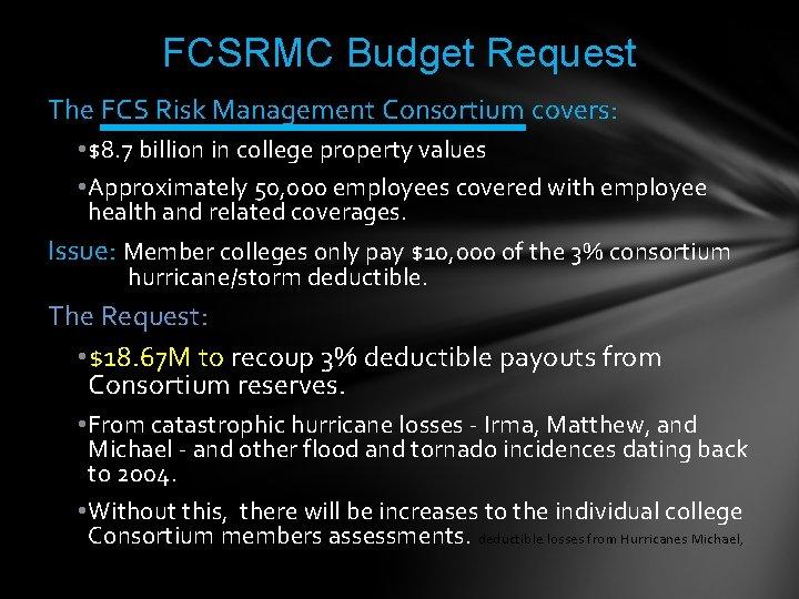 FCSRMC Budget Request The FCS Risk Management Consortium covers: • $8. 7 billion in