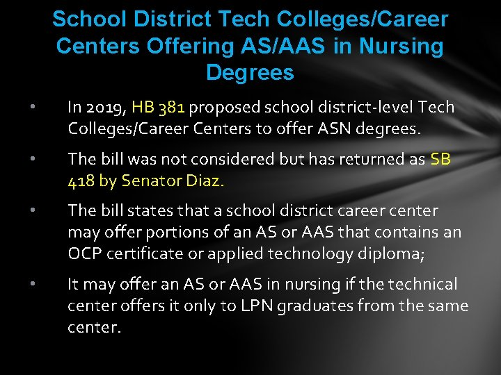 School District Tech Colleges/Career Centers Offering AS/AAS in Nursing Degrees • In 2019, HB