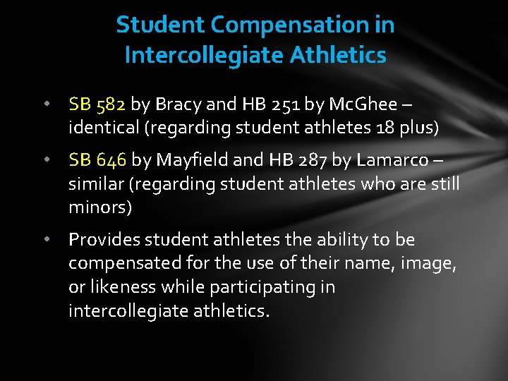 Student Compensation in Intercollegiate Athletics • SB 582 by Bracy and HB 251 by