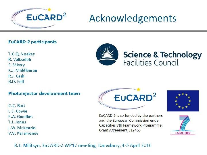 Acknowledgements Eu. CARD-2 participants T. C. Q. Noakes R. Valizadeh S. Mistry K. J.