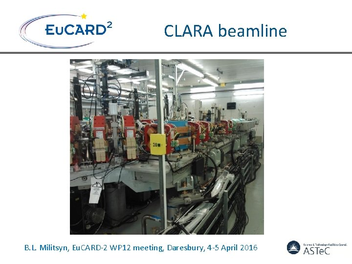 CLARA beamline B. L. Militsyn, Eu. CARD-2 WP 12 meeting, Daresbury, 4 -5 April