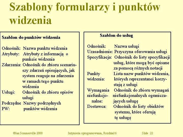 Szablony formularzy i punktów widzenia Szablon do usług Szablon do punktów widzenia Odnośnik: Nazwa