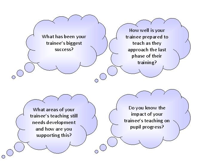 What has been your trainee's biggest success? What areas of your trainee's teaching still