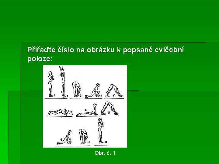 Přiřaďte číslo na obrázku k popsané cvičební poloze: Obr. č. 1
