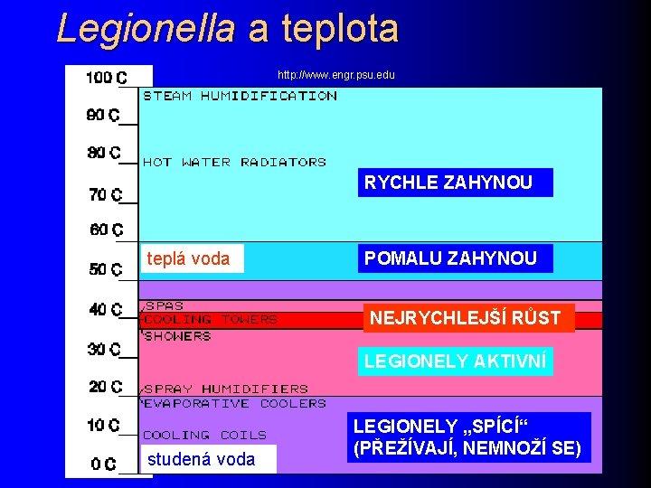 Legionella a teplota http: //www. engr. psu. edu RYCHLE ZAHYNOU teplá voda POMALU ZAHYNOU
