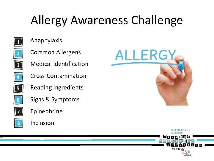 Allergy Awareness Challenge Anaphylaxis Common Allergens Medical Identification Cross-Contamination Reading Ingredients Signs & Symptoms