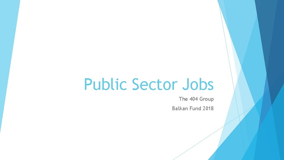 Public Sector Jobs The 404 Group Balkan Fund 2018