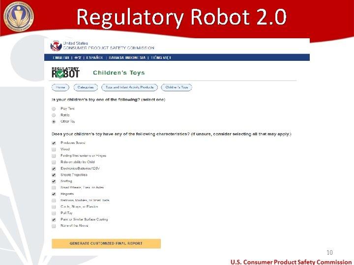 Regulatory Robot 2. 0 10