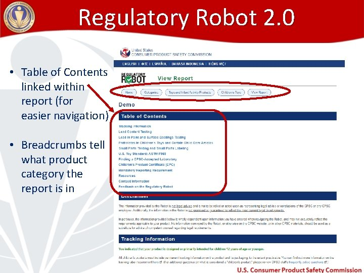 Regulatory Robot 2. 0 • Table of Contents linked within report (for easier navigation)