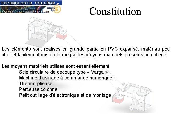Constitution Les éléments sont réalisés en grande partie en PVC expansé, matériau peu cher