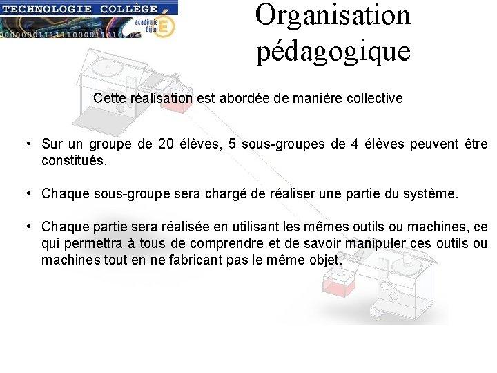 Organisation pédagogique Cette réalisation est abordée de manière collective • Sur un groupe de