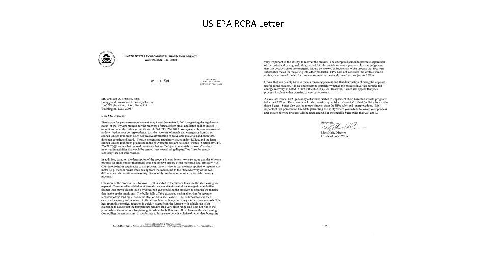 US EPA RCRA Letter
