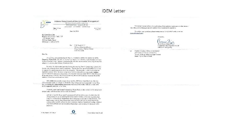 IDEM Letter