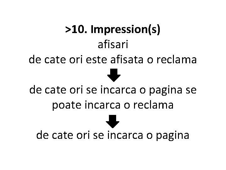 >10. Impression(s) afisari de cate ori este afisata o reclama de cate ori se