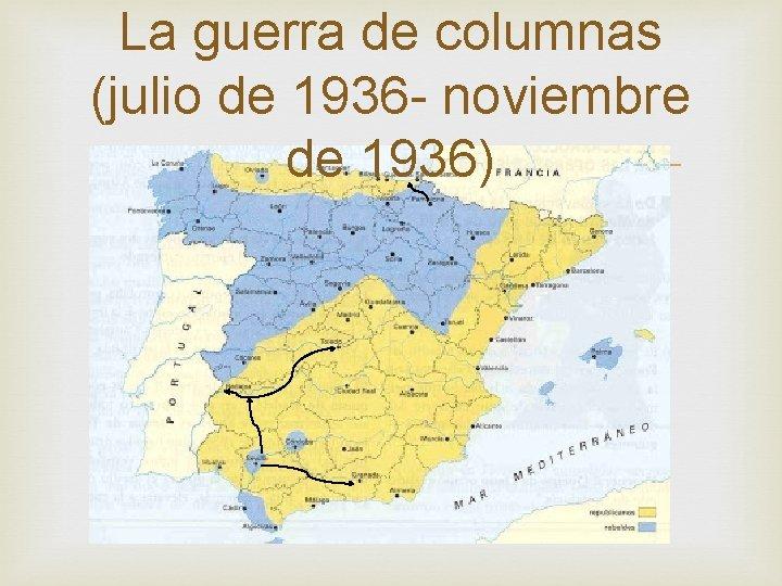 La guerra de columnas (julio de 1936 - noviembre de 1936)