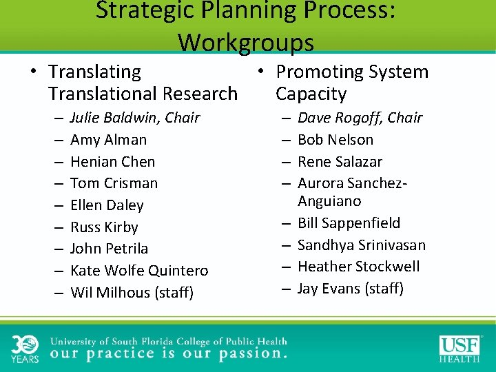 Strategic Planning Process: Workgroups • Promoting System • Translating Capacity Translational Research – –