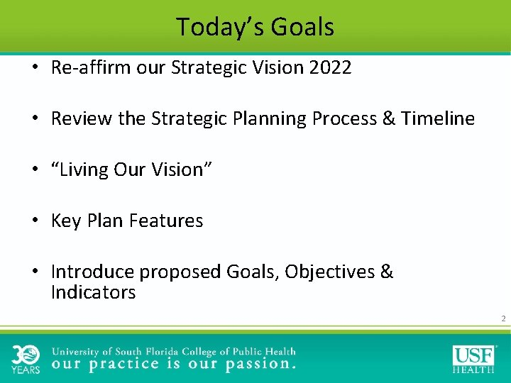 Today's Goals • Re-affirm our Strategic Vision 2022 • Review the Strategic Planning Process