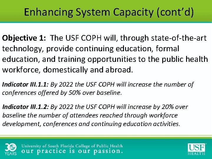 Enhancing System Capacity (cont'd) Objective 1: The USF COPH will, through state-of-the-art technology, provide